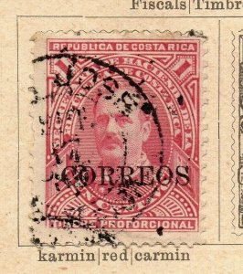 Costa Rica 1889 Early Issue Fine Used 1c. Optd Correos NW-09217