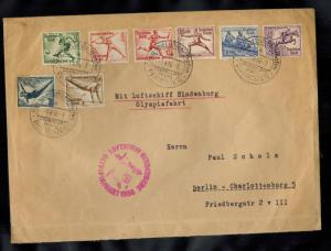 1936 Germany Hindenburg LZ 129 Zeppelin Olympics Oversize Cover set # B82-B89
