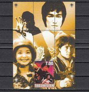 Tadjikistan, 2000 Cinderella issue. Bruce Lee, Cinema s/sheet.