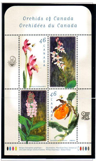 Canada Sc  1790b 1999 Orchids stamp sheet mint NH