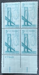 US #1255 MNH Plate Block of 4 LL Verrazano-Narrows Bridge SCV $1.00 L23