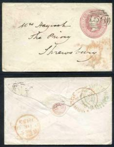 EP7a QV 1d Pink Size A with Pink Seal Device Used 158 Numeral Cancel