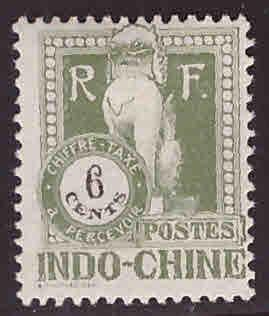 French Indo-China Scott J37 MH* 1922 Angkor Wat Postage due