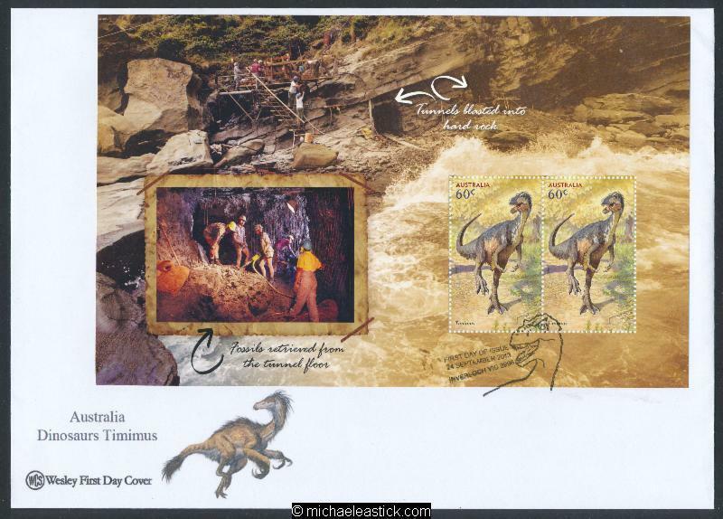 24-Sep-2013 Australia Age of Dinosaurs Prestige Booklet Pane Wesley FDC (b)