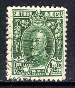 Southern Rhodesia 1931 - 37  KGV 1/2d Green used SG 15 Perfs 12 ( E1157 )