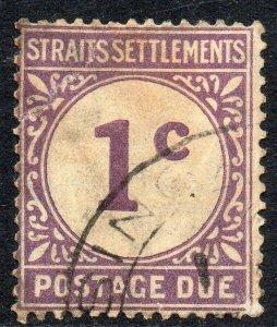 1924 Straits Settlements Sg D1 1c violet Postage Due Good Used