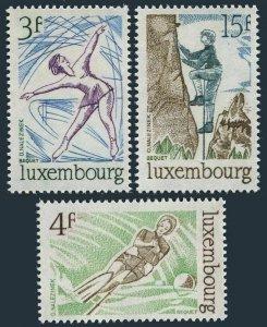 Luxembourg 566-568,MNH.Michel 911-913. Figure skating,Water skiing,Climbing,1975