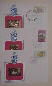BARBADOS 3 DIFF. FDC GOLD FOIL 1981-1983  CACHET UNADDRESSED