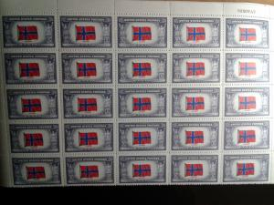 SCOTT # 911 NORWAY MINT NEVER HINGED OVERRUN COUNTRY BLOCK OF 25 !!
