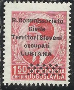 LUBIANA 1941 SOPRASTAMPATO DI JUGOSLAVIA YUGOSLAVIA OVERPRINTED Co. Ci. 1,50 ...