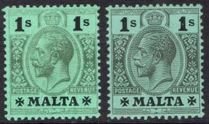 MALTA 1914 KGV 1/-  - 2 SHADES WMK MULTI CROWN CA