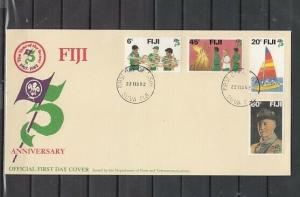 Fiji, Scott cat. 458-461. Scouting 75th Anniversary issue. First day cover.