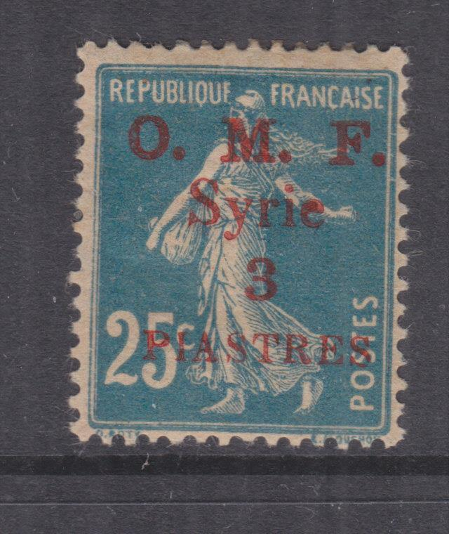 SYRIA, 1920 OMF Syrie, 3pi. in Red on 25c. Blue, lhm.