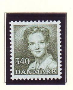 Denmark  Scott 799 1989 3.4 kr dark green Queen Margrethe stamp mint NH