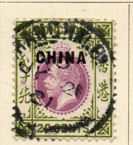 China 1917 Early Issue Fine Used 20c. Optd 322562