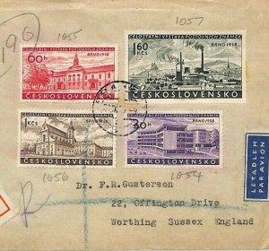 Czechoslovakia Cover 1958 BRNO Set{4} STAMP EXHIBITION Air Mail {samwells}BU103