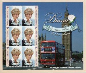 Antigua & Barbuda Royalty Stamps 1997 MNH Princess Diana Memorial Big Ben 6v M/S