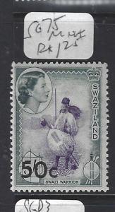 SWAZILAND  (P1510B)  QEII  50C/5/-      SG 75     MNH