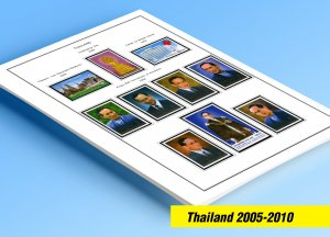 COLOR PRINTED THAILAND 2005-2010 STAMP ALBUM PAGES (124 illustrated pages)