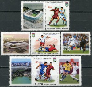 Korea 2014. FIFA World Cup Brazil 2014 (MNH OG) Set of 3 stamps and 5 labels