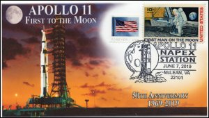 19-123, 2019, Apollo 11 Moon Landing, Pictorial Postmark, NAPEX, Lift off, Event