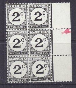 St. LUCIA, POSTAGE DUE, 1952, 2c St. EDWARD'S CROWN watermark in block of 6, mnh