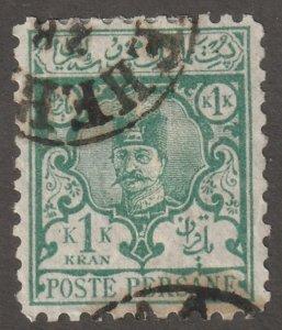 Persian stamp, Scott#87, used, hinged, 1KR, green, #ed-190