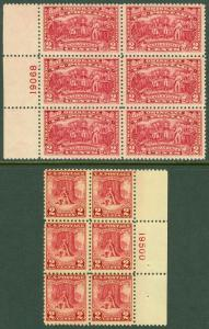 EDW1949SELL : USA 1927-28 Scott #644-45 P/B of 6 Mint Never Hinged. Catalog $80.