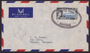 BAHAMAS 1962 local cover scarce OVAL RUBBER DATESTAMP.......................6574