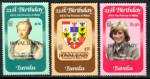 Tuvalu MNH 173-5 Princess Diana Royal Baby Overprints