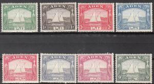 Aden, Sc # 1-8, MNH, 1937, Dhoa