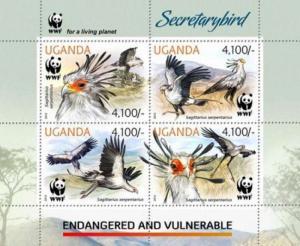 Uganda - Secretarybird & WWF on Stamps - 4 Stamp Sheet - 21D-049