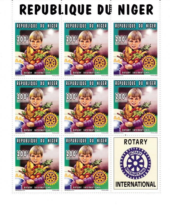 Republic of Niger 1996 Rotary International Sheet of 8+ Label  VF/NH