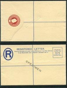 Bahamas 1938 KGVI 2d red Registered Envelope overprint SPECIMEN unused H&G C5a.