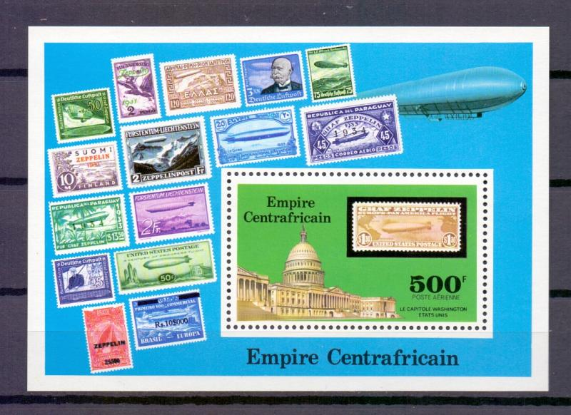 Central African Empire  1977 MNH Graf Zeppelin Capitol Washington sheet