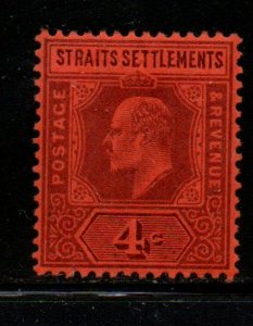 Straits Settlements Sc 95 1902 5 c violet on red Edward VII stamp mint