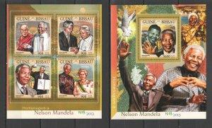 ST907 2016 GUINEA-BISSAU FAMOUS PEOPLE NELSON MANDELA KB+BL MNH STAMPS