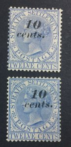 MOMEN: MALAYA STRAITS #45,45a 1880-1 MINT OG H £170 LOT #6855