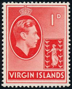 British Virgin Islands 1943 1d Scarlet SG111a MH