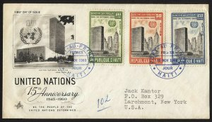 wc025 Haiti United Nations 15th Anniversary Nov. 25, 1960 FDC first day cover