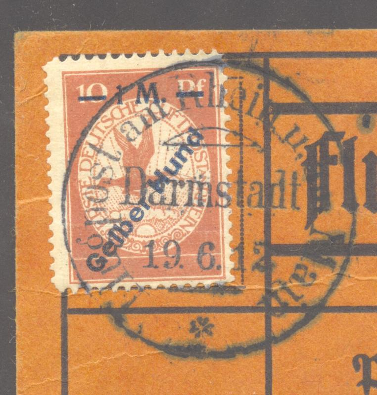 Germany 1912 Semi-Official Airmail Gelber Hund on flown card, DARMSTADT CDS