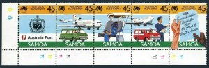 Samoa 710 ae strip,MNH.Mi 630-634. Australia Bicentennial,1988.National Crest,