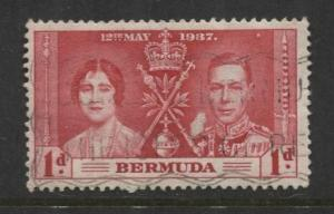 Bermuda - Scott 115 - Coronation - 1937 - FU -  Single - 1d Stamp