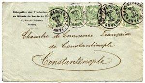 Belgium 5c (5) used to Constantinople, Turkey, 1912