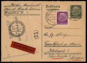 Germany Hindenburg Reply Card GS Frankfurt Rohrpost Pneumatic Mail Cover 66518