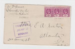 CEYLON -USA 1917 CENSOR (TYPE 8) COVER 15c RATE (SEE BELOW)