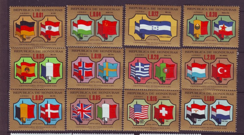 J23980 JLstamps 1974 honduras set/12 mnh #c574 upu flags changed colors f/s/s