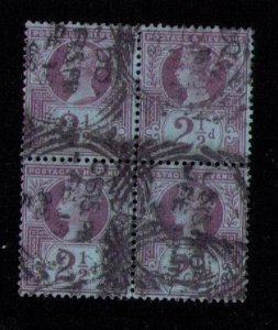 Great Britain Sc #114  Used Block Of Four F-VF