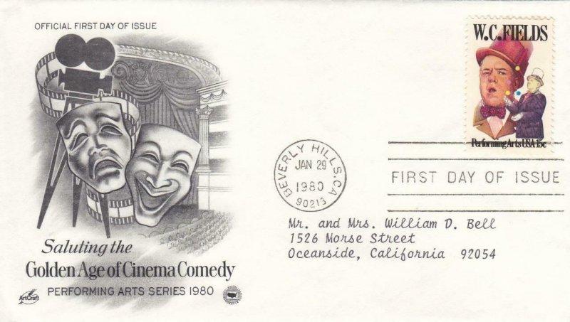 1980, Honoring W. C. Fields, Artcraft/PCS, FDC (E9195)