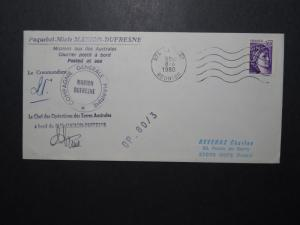 France 1980 Antarctic Mission Cover / Signed / Reunion CDS - Z11116
